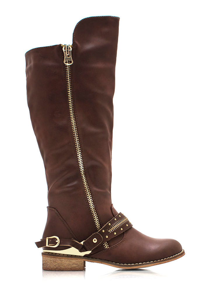Spur You On Zippered Boots BROWN (Final Sale)