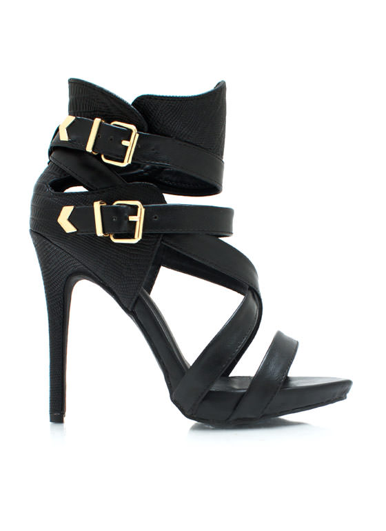 Guard Up Strappy Scaled Heels BLACK