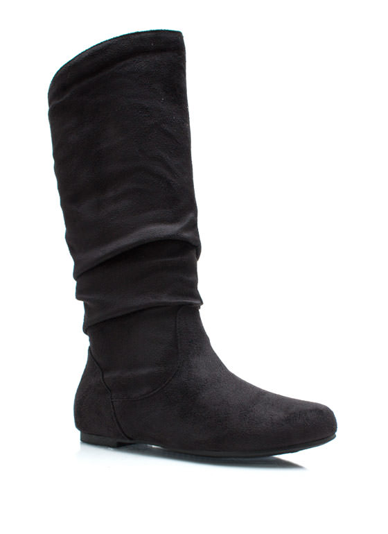 Basic Babe Faux Suede Boots BLACK