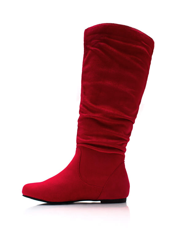 Basic Babe Faux Suede Boots RED
