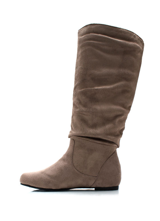 Basic Babe Faux Suede Boots TAUPE