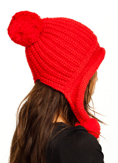 Pom-Pom Ear Flap Beanie RED