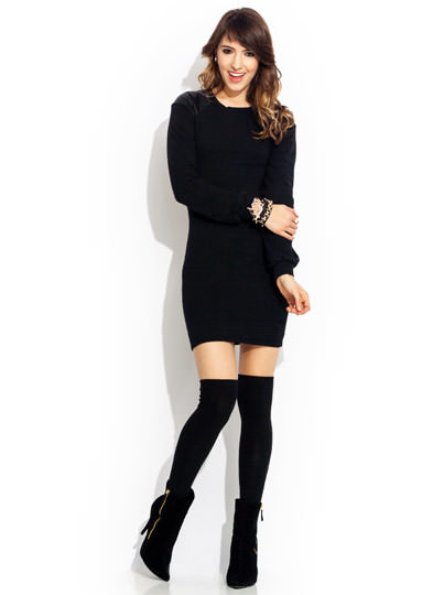 Back Out Trimmed Terry Dress BLACK