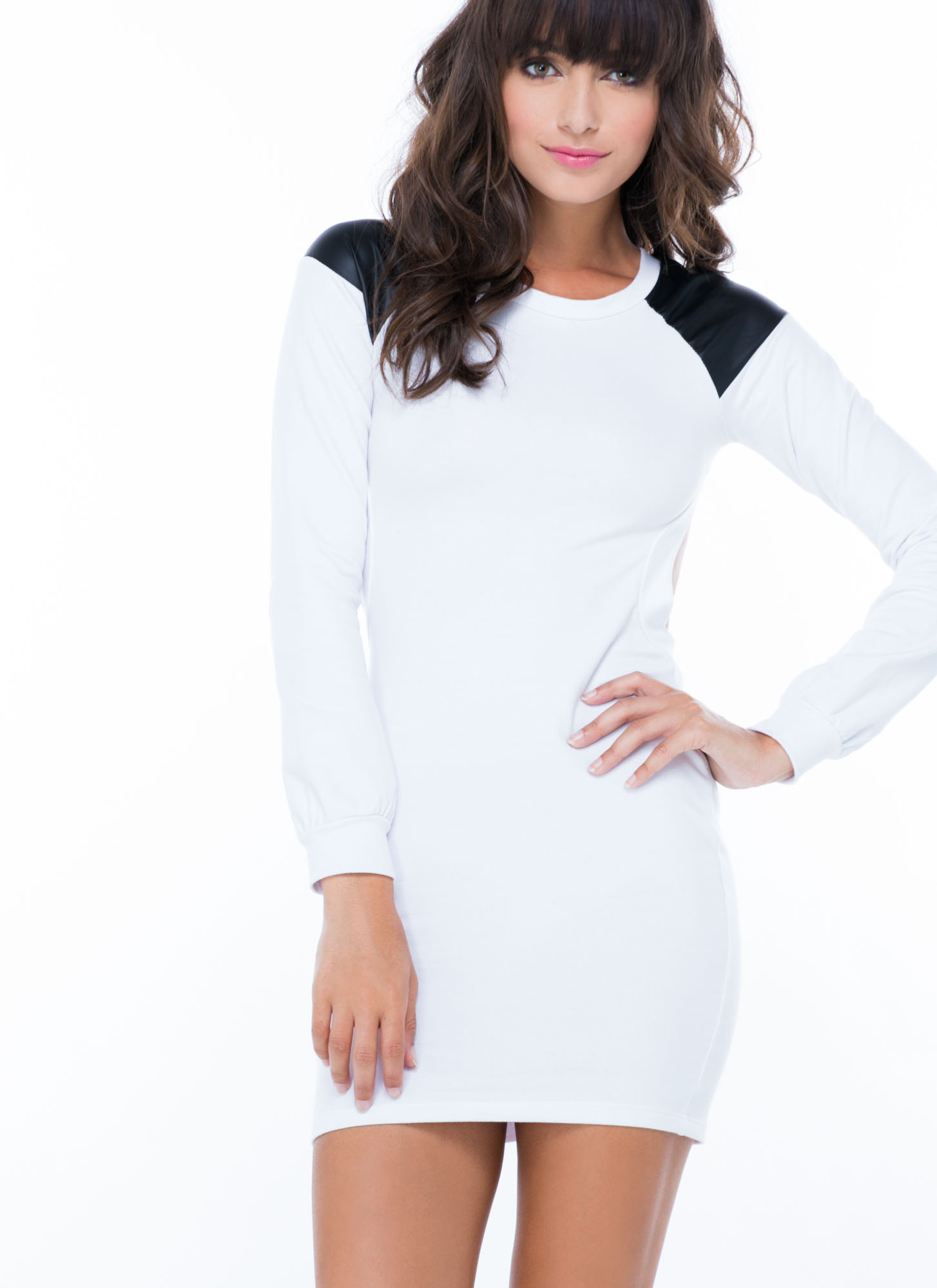 Back Out Trimmed Terry Dress WHITE