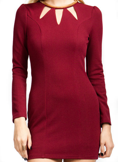 Get Collared Cut Out Dress BURGUNDY