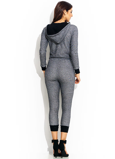 Terry On Hooded Jogger Jumpsuit CHARCOAL