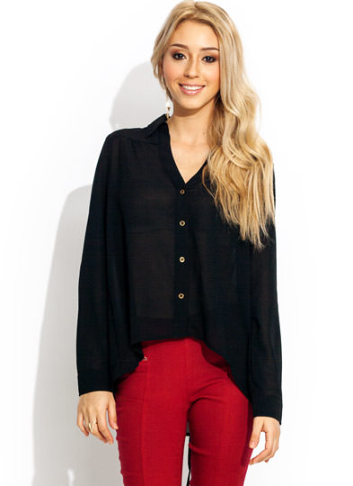 Laced Is More Button Up Blouse BLACK