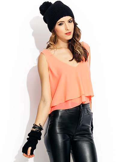 Double Layer Cropped Top NEONCORAL