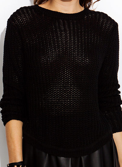 Chunky Curve Back Sweater BLACK
