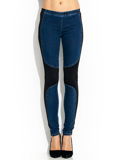 Contrast Combo Jeggings BLACKBLUE
