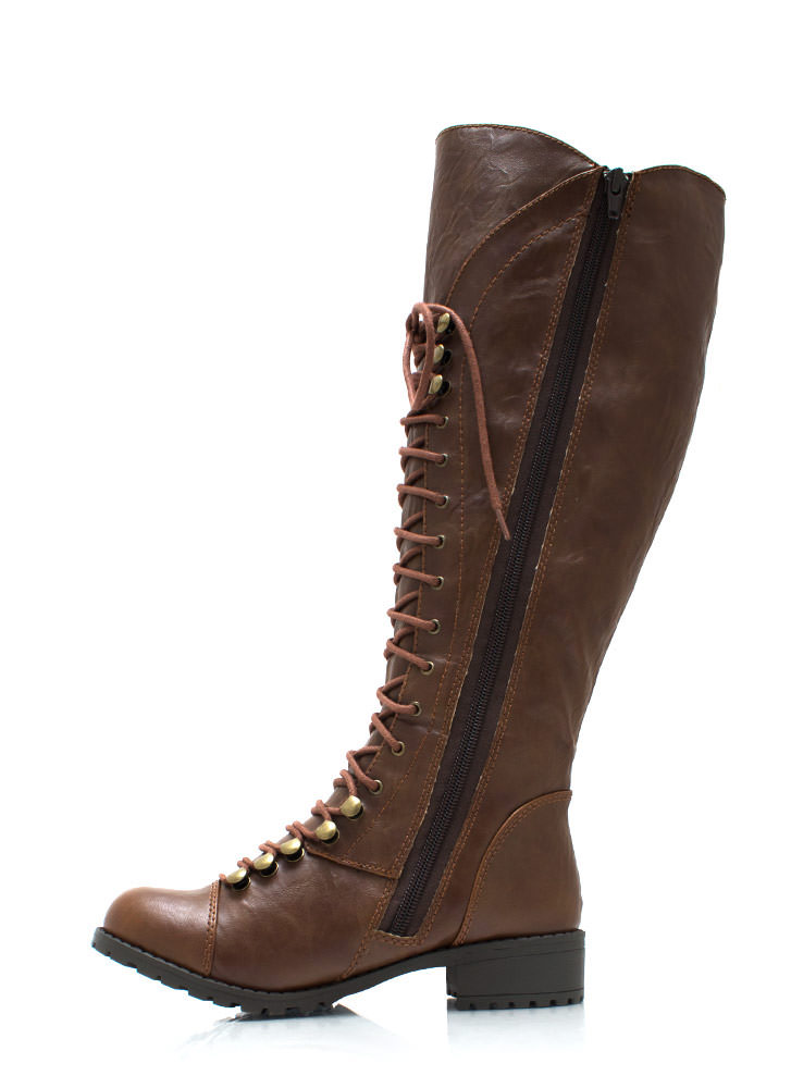 Hike It Up Tall Lace Up Boots TAN