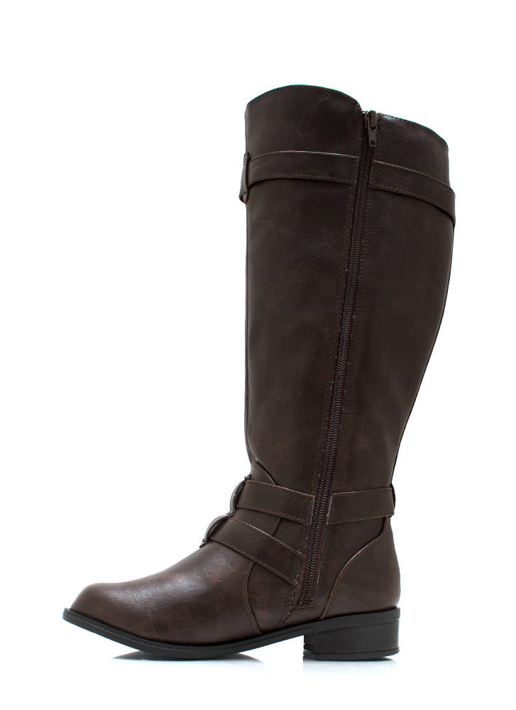 Three Rein Tall Buckled Boots BROWN