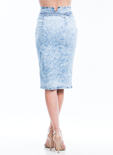 Zippy Denim Pencil Skirt LTBLUE