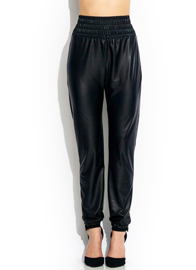 Smocked Coated Joggers BLACK