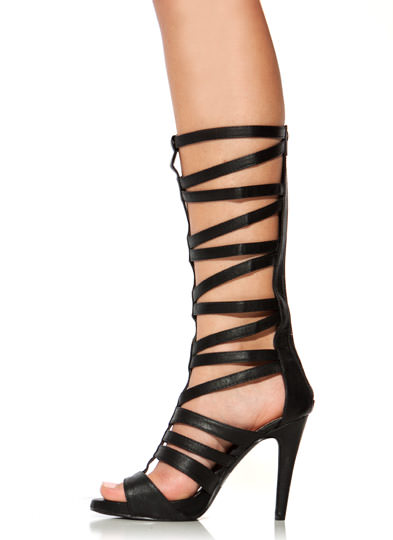 Strappy Arena Gladiator Heels BLACK