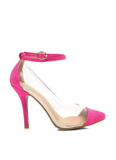 Clear 2 Me Cap Toe Heels HOTPINK (Final Sale)