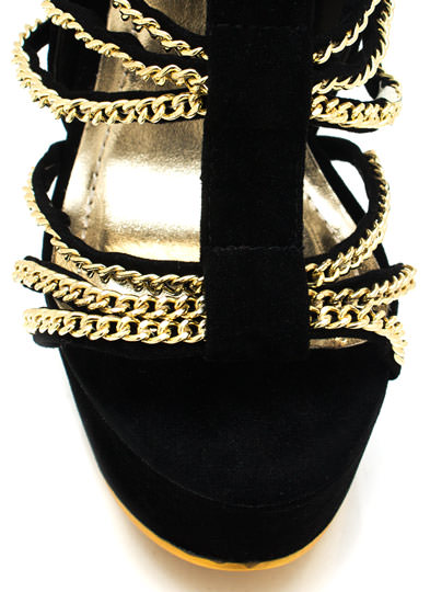 Chain Wrapped Velvet Platform Heels BLACK