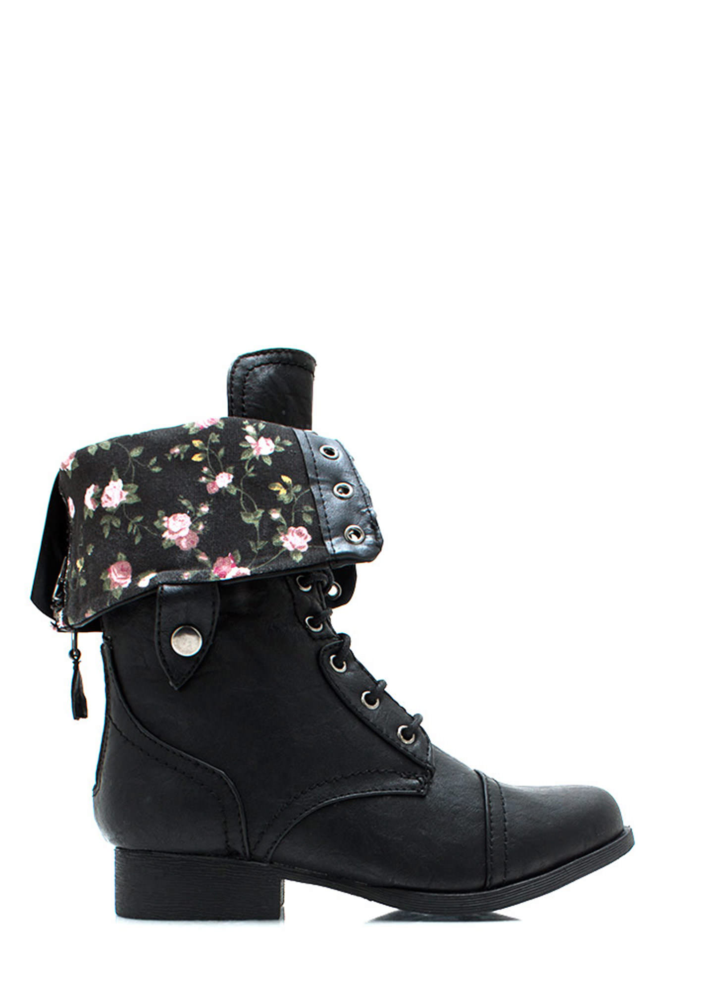 Convertible Floral Lining Combat Boots BLACK