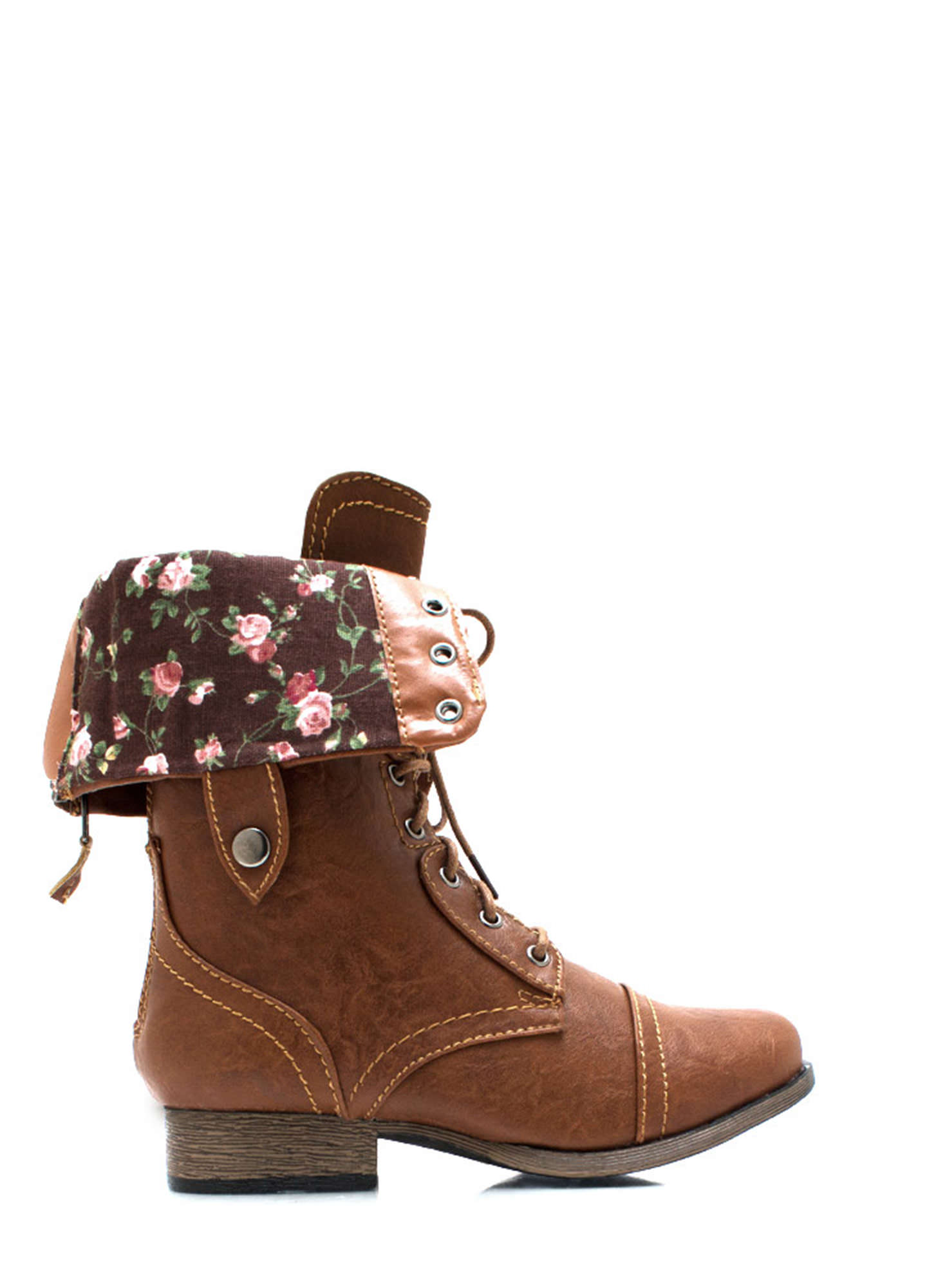 Convertible Floral Lining Combat Boots WHISKY