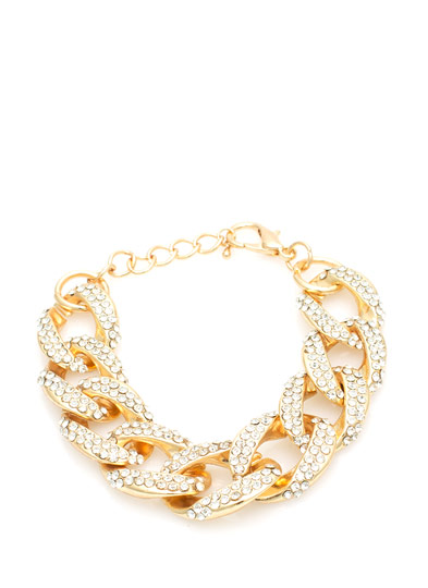 Sprinkled in Rhinestones Chain Link Bracelet GOLDCLEAR