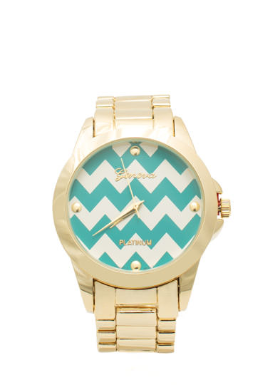 Zigzag Face Boyfriend Watch TEALGOLD