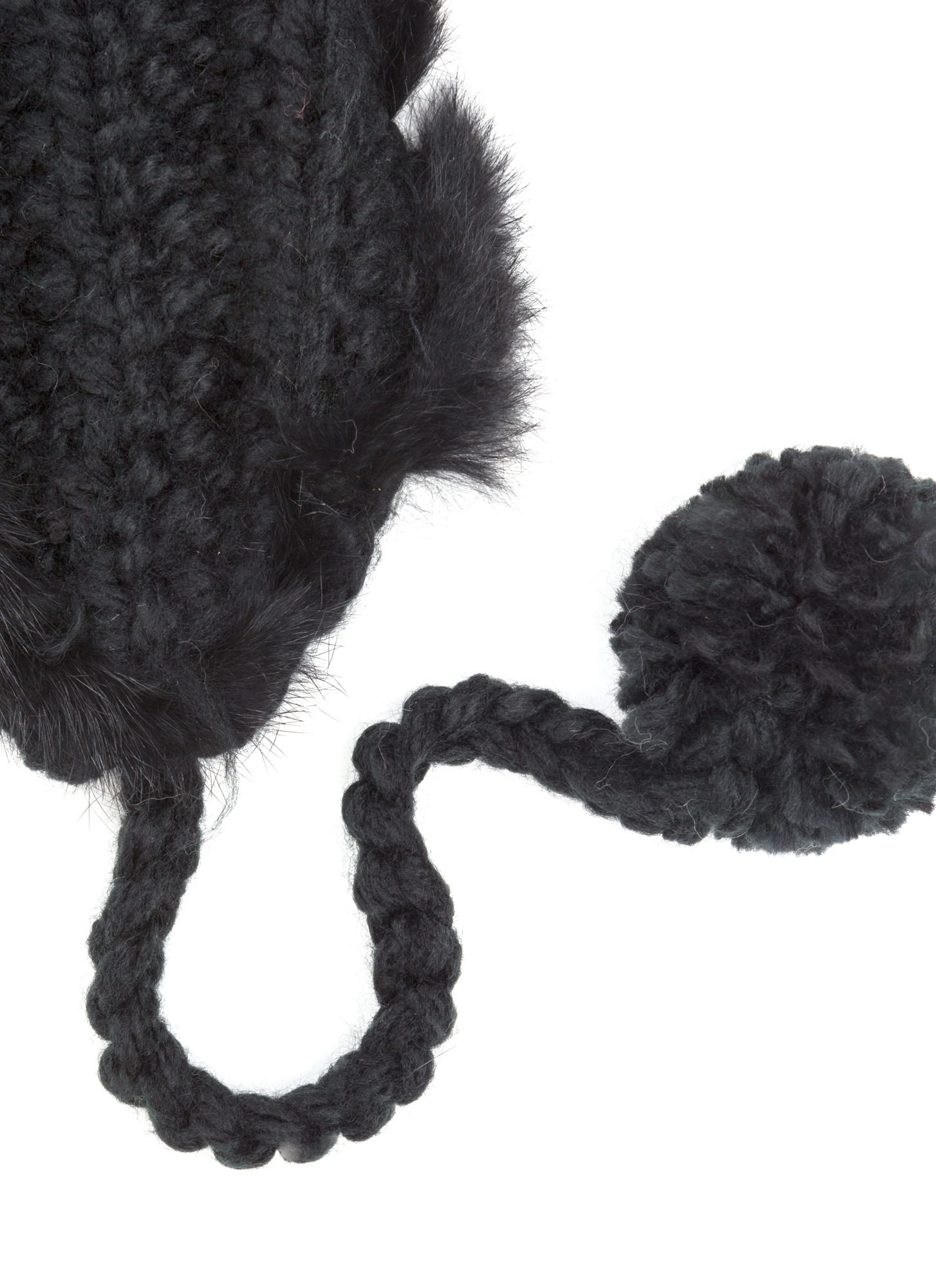 Fur-Tunate Knit Earflap Beanie BLACK