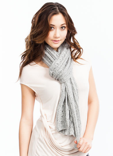 Sequin Adorned Knit Scarf GREY