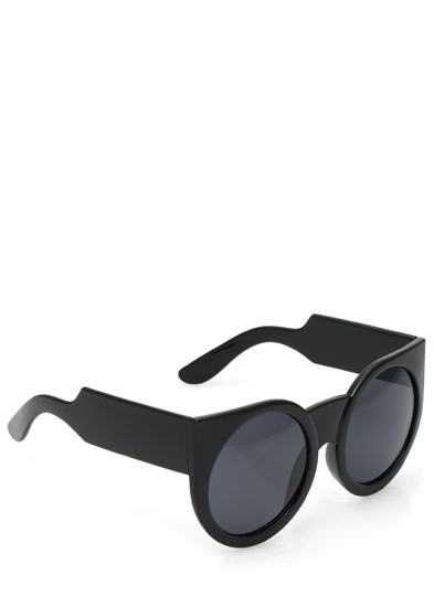 Chunky Exaggerated Round Sunglasses BLACK