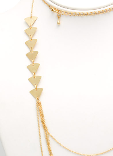 Triangle Draped Chains Necklace GOLD