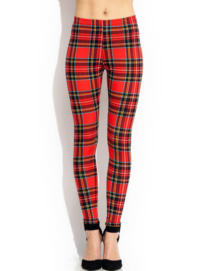 Rad In Plaid Leggings RED