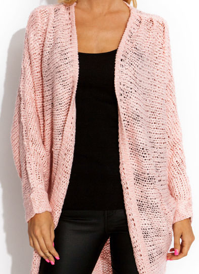 Chunky Open Weave Dolman Cardigan PINK