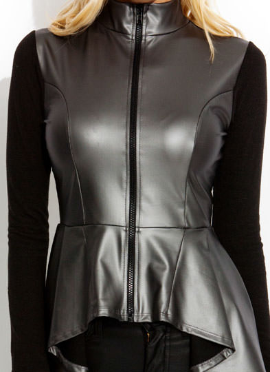 Curved Peplum Mixed Media Zippered Jacket PEWTERBLK