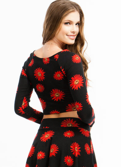 Sunflower Fields Cropped Top REDBLACK