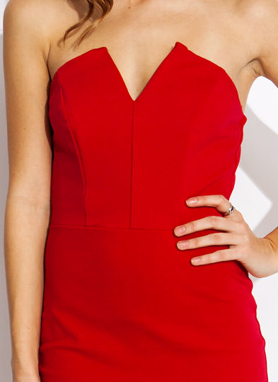 Sweetheart Bodycon Dress RED