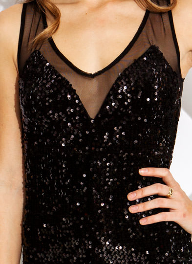 Sequins of Events Mesh Dress BLACK