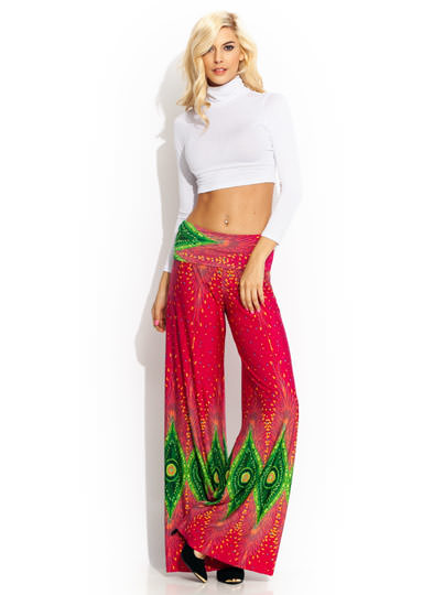 Peacock Feather Palazzo Pants PINK