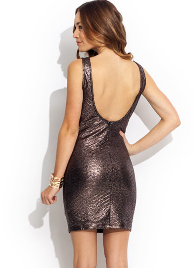 Textured Metallic Tank Dress GUNMETAL