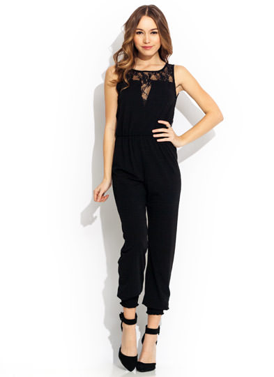 Bring Lacy Back Jumpsuit BLACK
