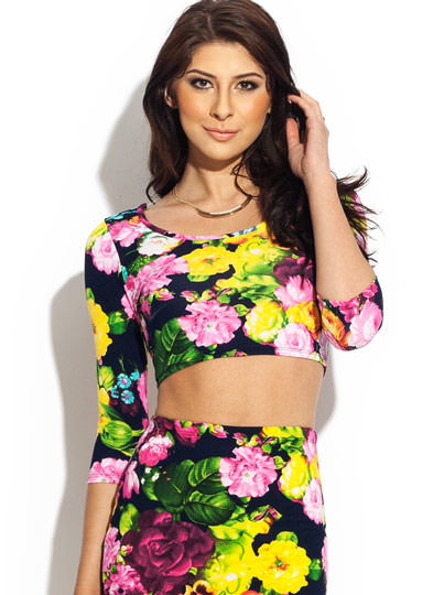 Painted Floral Cropped Top PINKBLACK