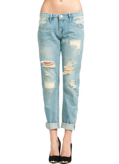 Destructed Relaxed Fit Jeans LTBLUE