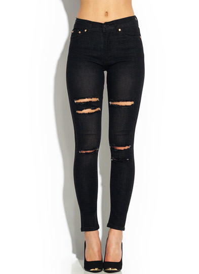 Distressed Cut-Out High-Waisted Jeans BLACK