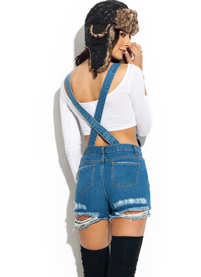 Destroyed 2-In-1 Overalls BLUE