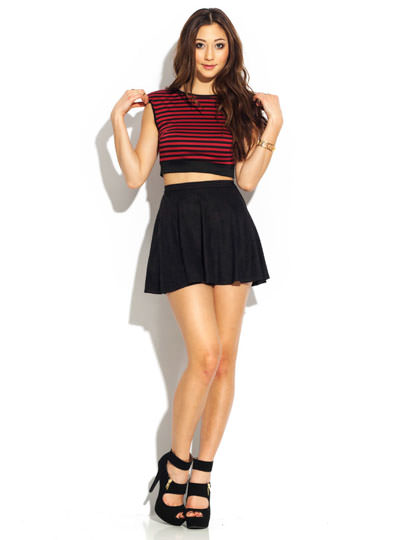 Horizontally Striped Crop Top BURGBLACK