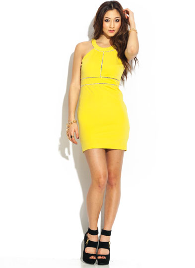 Cut-Out Stitch Halter Dress CITRON
