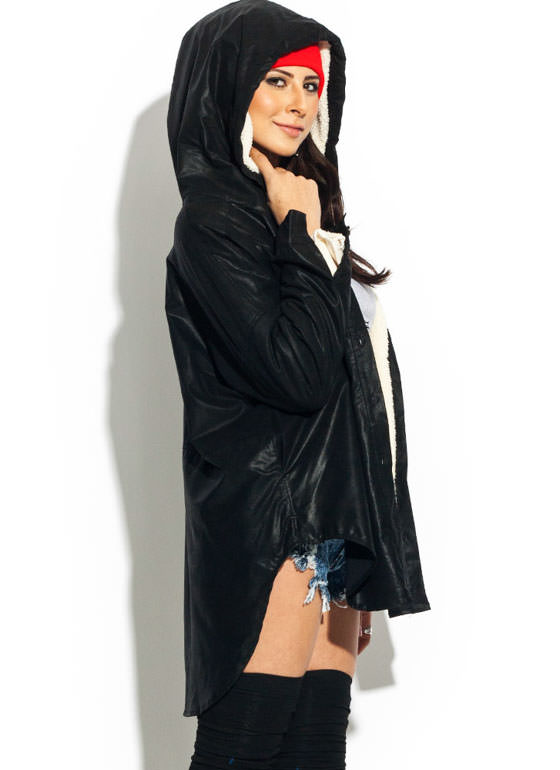 Convertible Shearling Faux Leather Jacket BLACK