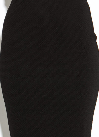 Textured Bodycon Midi Skirt BLACK