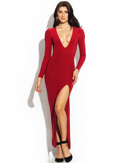 Plunging Single-Slit Maxi Dress RED