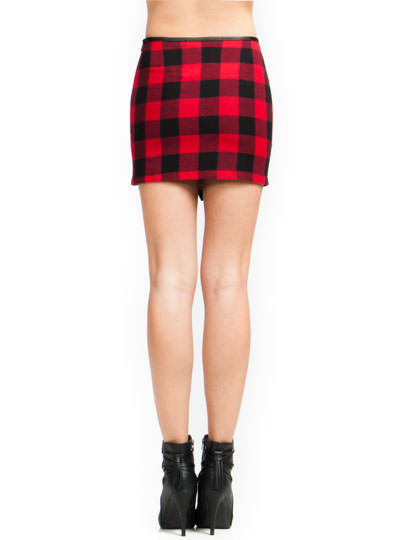 Get The Check Buckled Skirt REDBLACK