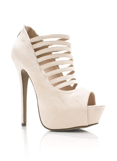Strappy Open Toe Stiletto Heels NATURAL