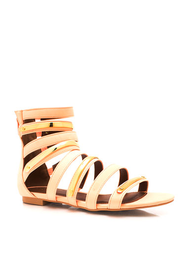 Plating Around Gladiator Sandals PEACH